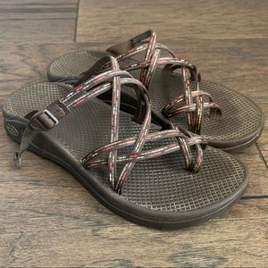 Chaco Red Brown Southwest Strappy Sports Sandals